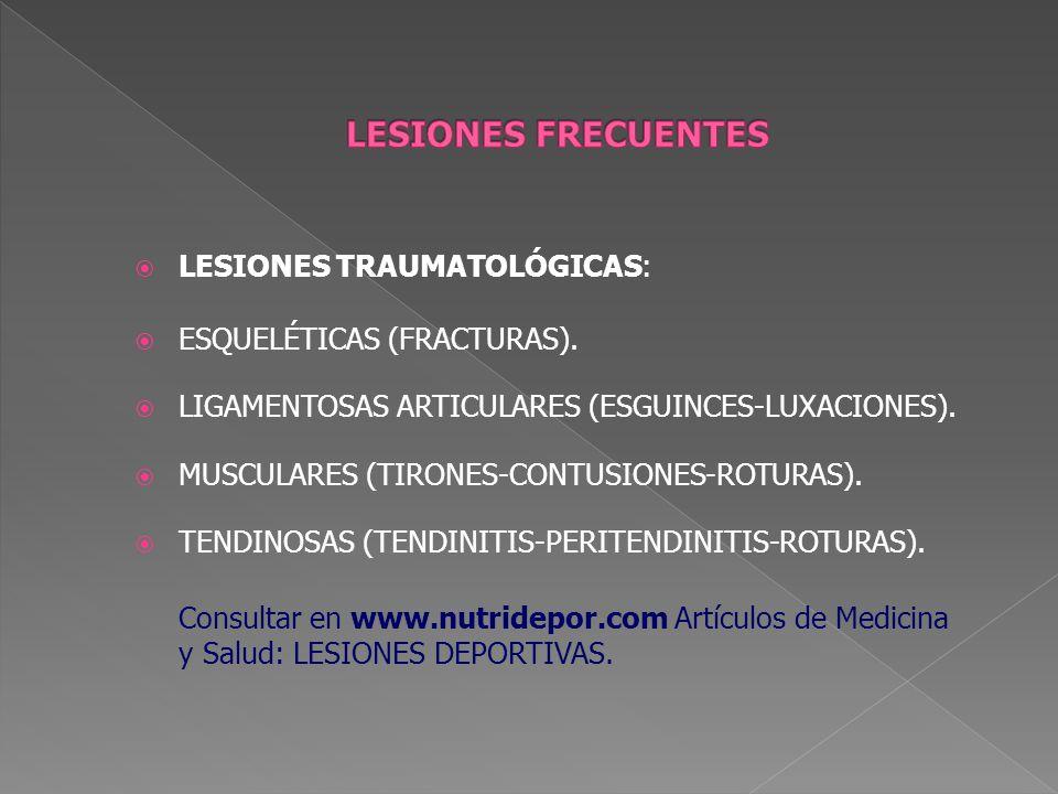 LESIONES TRAUMATOLÓGICAS: ESQUELÉTICAS (FRACTURAS). LIGAMENTOSAS ARTICULARES (ESGUINCES-LUXACIONES). MUSCULARES (TIRONES-CONTUSIONES-ROTURAS). TENDINO
