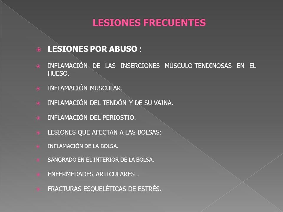 LESIONES POR ABUSO : INFLAMACIÓN DE LAS INSERCIONES MÚSCULO-TENDINOSAS EN EL HUESO. INFLAMACIÓN MUSCULAR. INFLAMACIÓN DEL TENDÓN Y DE SU VAINA. INFLAM
