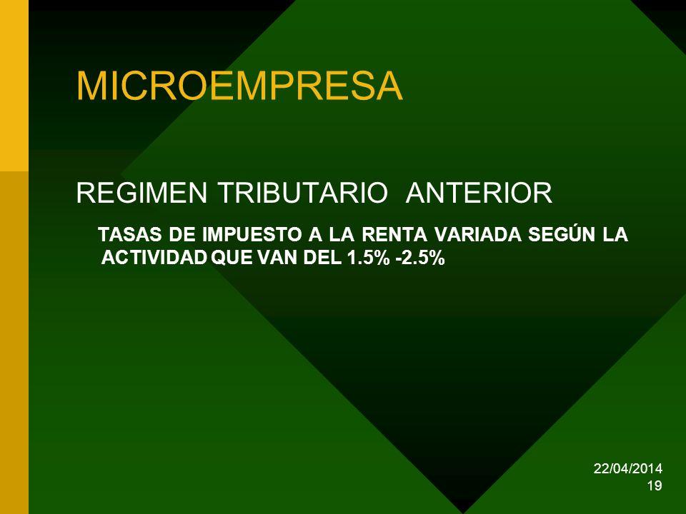 22/04/2014 19 MICROEMPRESA REGIMEN TRIBUTARIO ANTERIOR TASAS DE IMPUESTO A LA RENTA VARIADA SEGÚN LA ACTIVIDAD QUE VAN DEL 1.5% -2.5%