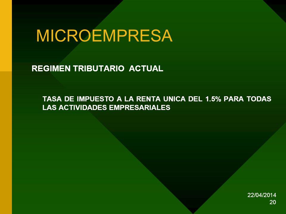 22/04/2014 20 MICROEMPRESA REGIMEN TRIBUTARIO ACTUAL TASA DE IMPUESTO A LA RENTA UNICA DEL 1.5% PARA TODAS LAS ACTIVIDADES EMPRESARIALES