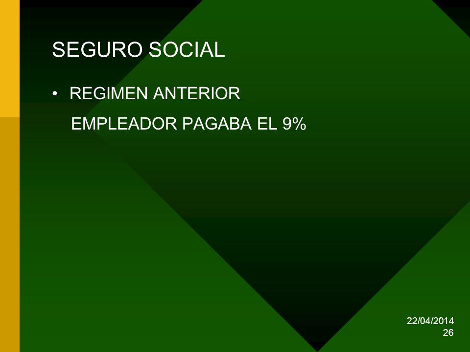 22/04/2014 26 SEGURO SOCIAL REGIMEN ANTERIOR EMPLEADOR PAGABA EL 9%