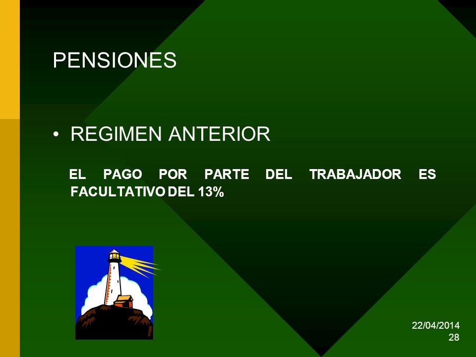 22/04/2014 28 PENSIONES REGIMEN ANTERIOR EL PAGO POR PARTE DEL TRABAJADOR ES FACULTATIVO DEL 13%