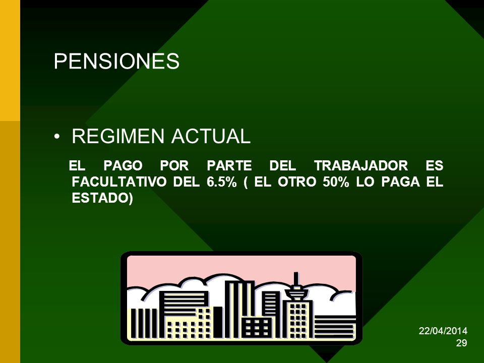 22/04/2014 29 PENSIONES REGIMEN ACTUAL EL PAGO POR PARTE DEL TRABAJADOR ES FACULTATIVO DEL 6.5% ( EL OTRO 50% LO PAGA EL ESTADO)