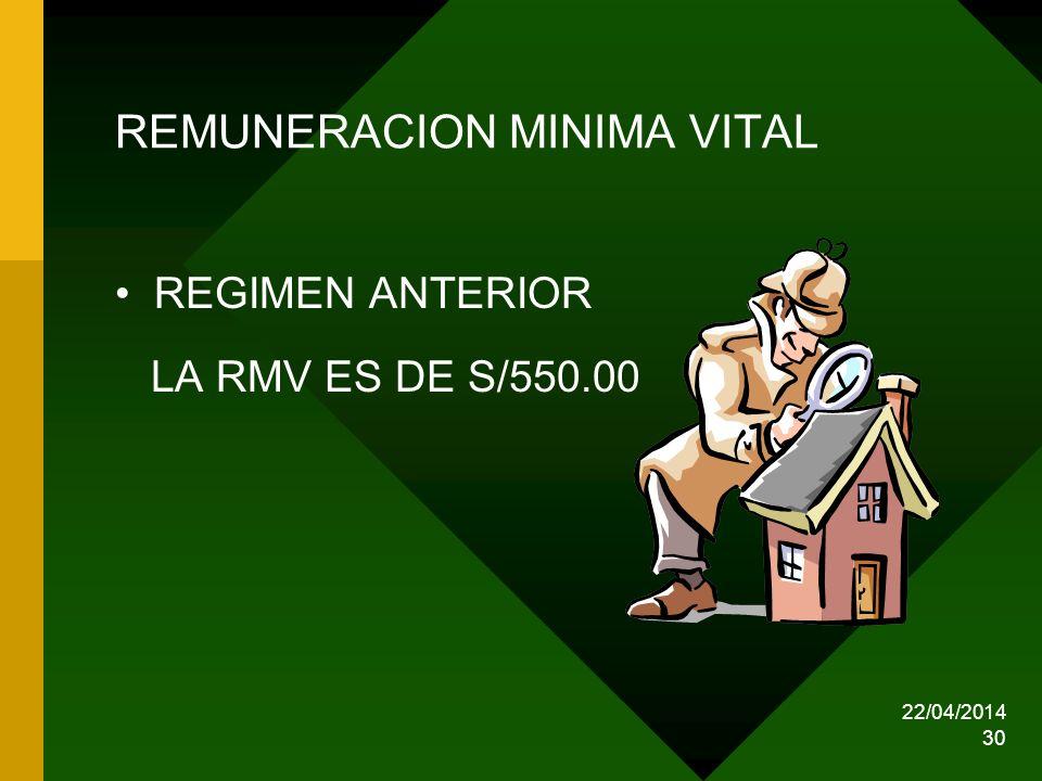 22/04/2014 30 REMUNERACION MINIMA VITAL REGIMEN ANTERIOR LA RMV ES DE S/550.00