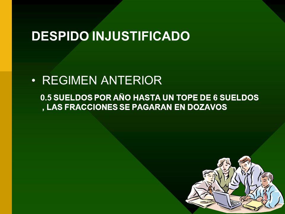 22/04/2014 32 DESPIDO INJUSTIFICADO REGIMEN ANTERIOR 0.5 SUELDOS POR AÑO HASTA UN TOPE DE 6 SUELDOS, LAS FRACCIONES SE PAGARAN EN DOZAVOS