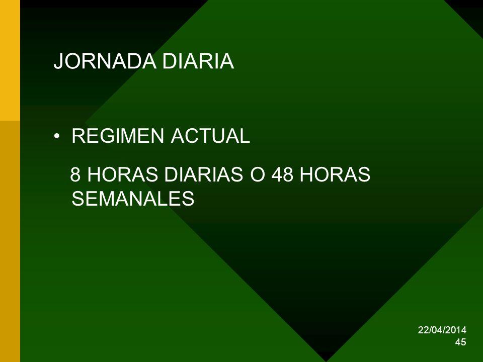 22/04/2014 45 JORNADA DIARIA REGIMEN ACTUAL 8 HORAS DIARIAS O 48 HORAS SEMANALES