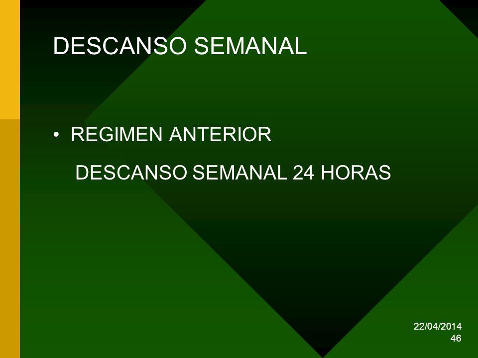 22/04/2014 46 DESCANSO SEMANAL REGIMEN ANTERIOR DESCANSO SEMANAL 24 HORAS
