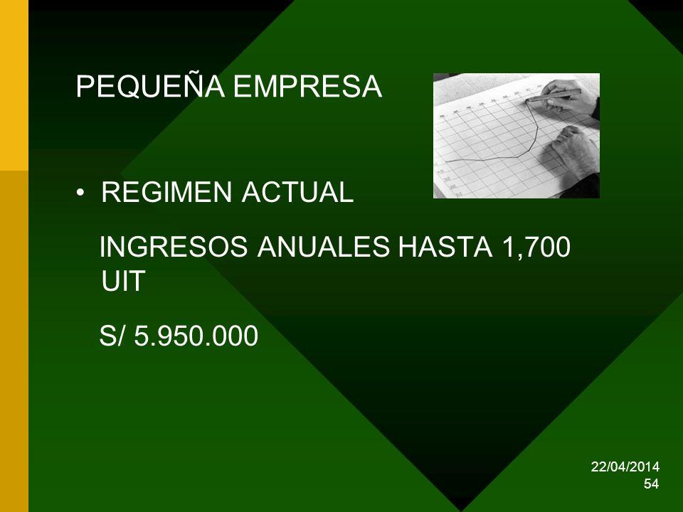 22/04/2014 54 PEQUEÑA EMPRESA REGIMEN ACTUAL INGRESOS ANUALES HASTA 1,700 UIT S/ 5.950.000
