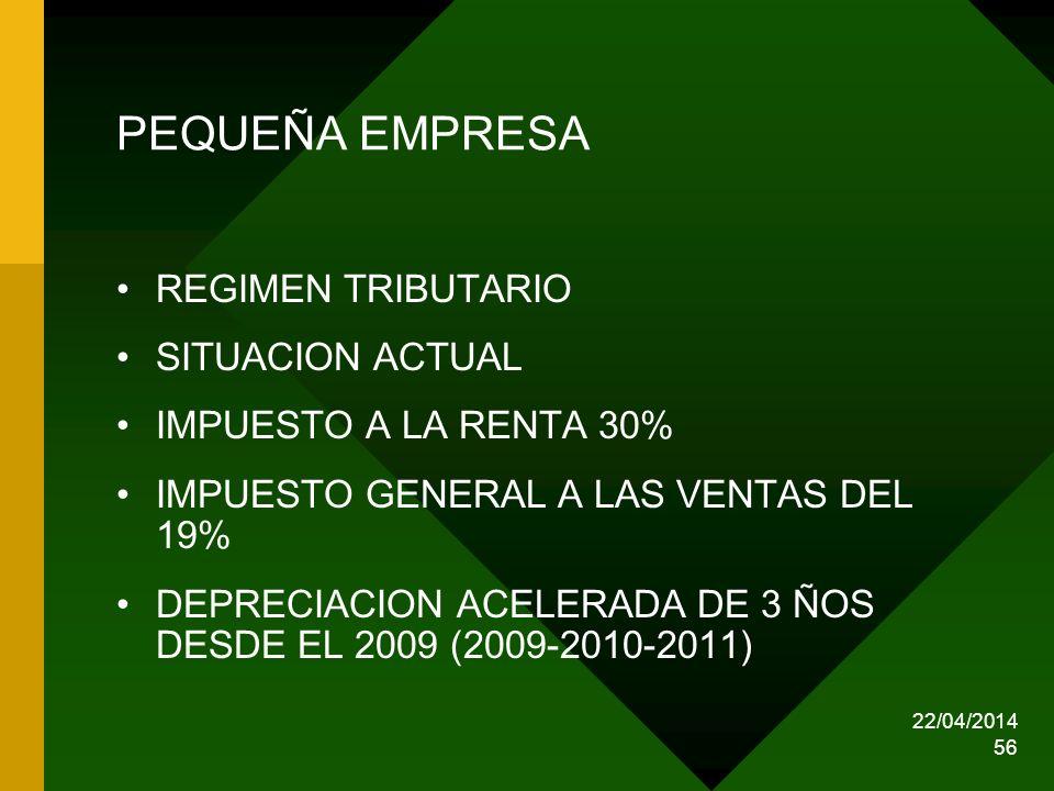 22/04/2014 56 PEQUEÑA EMPRESA REGIMEN TRIBUTARIO SITUACION ACTUAL IMPUESTO A LA RENTA 30% IMPUESTO GENERAL A LAS VENTAS DEL 19% DEPRECIACION ACELERADA