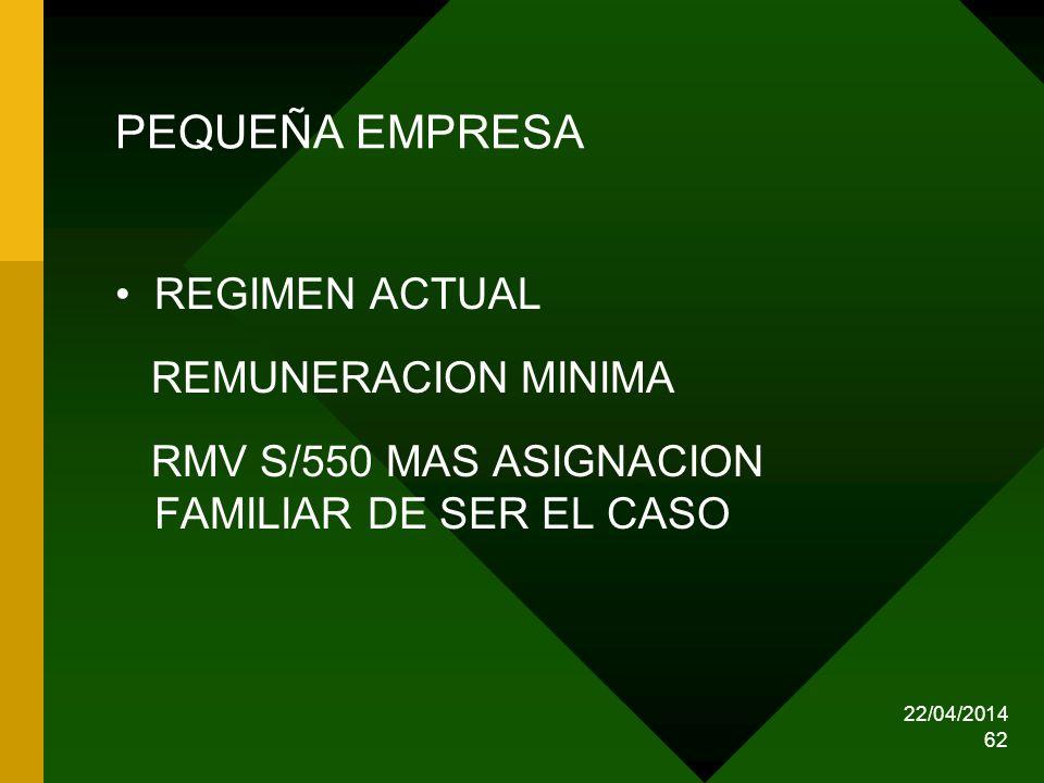 22/04/2014 62 PEQUEÑA EMPRESA REGIMEN ACTUAL REMUNERACION MINIMA RMV S/550 MAS ASIGNACION FAMILIAR DE SER EL CASO