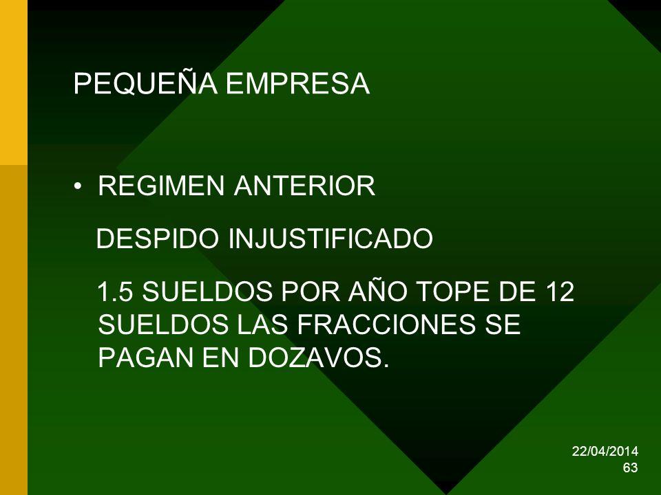 22/04/2014 63 PEQUEÑA EMPRESA REGIMEN ANTERIOR DESPIDO INJUSTIFICADO 1.5 SUELDOS POR AÑO TOPE DE 12 SUELDOS LAS FRACCIONES SE PAGAN EN DOZAVOS.
