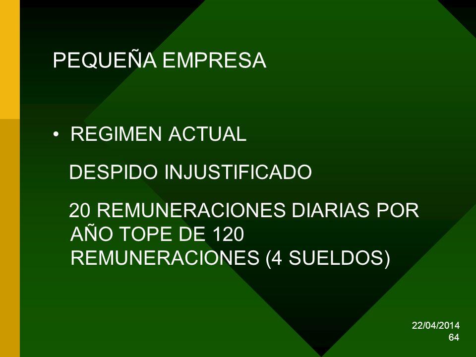 22/04/2014 64 PEQUEÑA EMPRESA REGIMEN ACTUAL DESPIDO INJUSTIFICADO 20 REMUNERACIONES DIARIAS POR AÑO TOPE DE 120 REMUNERACIONES (4 SUELDOS)