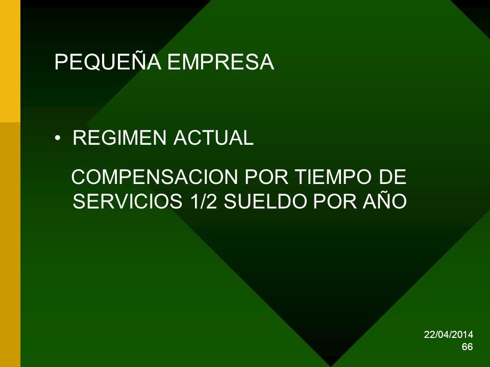 22/04/2014 66 PEQUEÑA EMPRESA REGIMEN ACTUAL COMPENSACION POR TIEMPO DE SERVICIOS 1/2 SUELDO POR AÑO