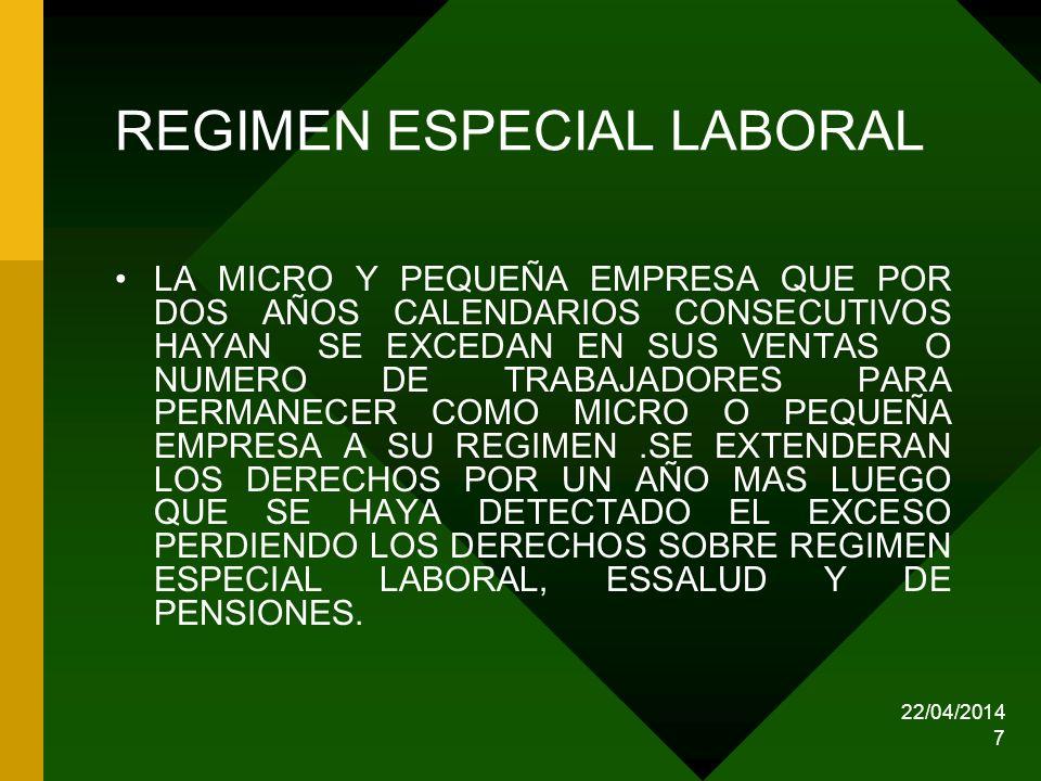 22/04/2014 18 MICROEMPRESA REGIMEN TRIBUTARIO ACTUAL SE DEBERA PRESENTAR DECLARACION JURADA ANUAL