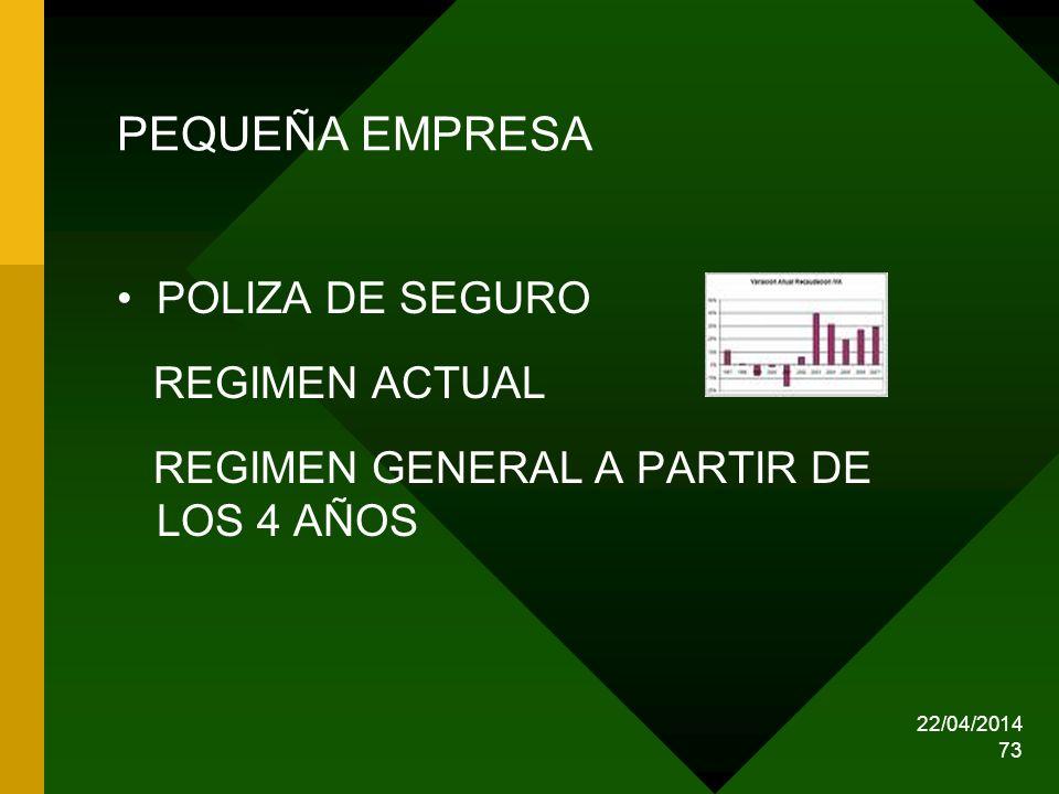 22/04/2014 73 PEQUEÑA EMPRESA POLIZA DE SEGURO REGIMEN ACTUAL REGIMEN GENERAL A PARTIR DE LOS 4 AÑOS