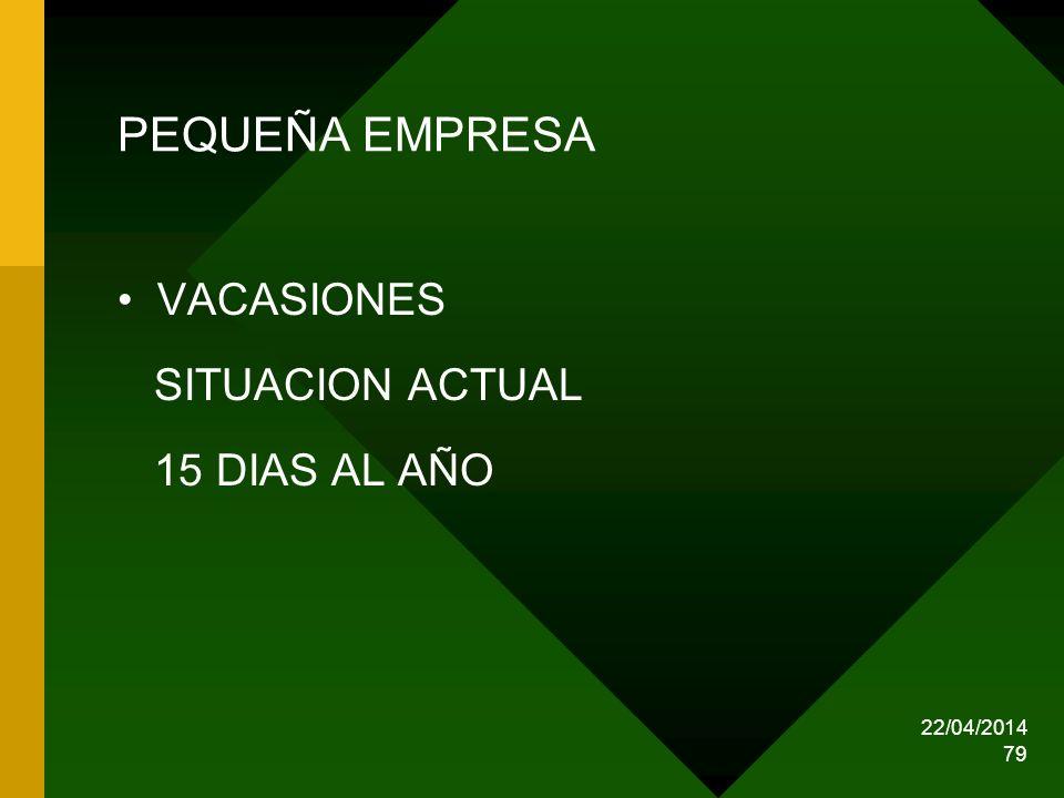 22/04/2014 79 PEQUEÑA EMPRESA VACASIONES SITUACION ACTUAL 15 DIAS AL AÑO