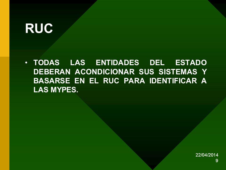 22/04/2014 9 RUC TODAS LAS ENTIDADES DEL ESTADO DEBERAN ACONDICIONAR SUS SISTEMAS Y BASARSE EN EL RUC PARA IDENTIFICAR A LAS MYPES.
