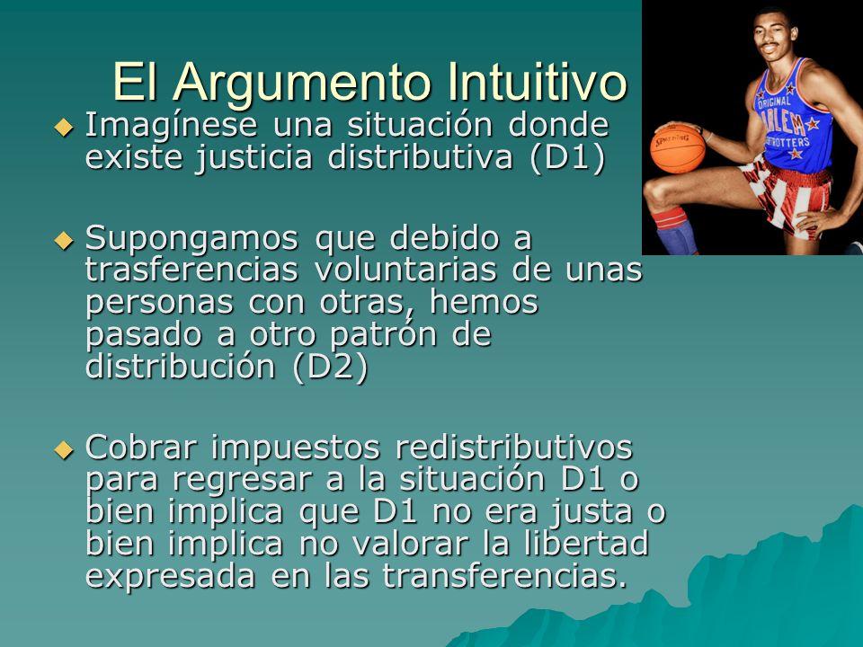El Argumento Intuitivo Imagínese una situación donde existe justicia distributiva (D1) Imagínese una situación donde existe justicia distributiva (D1)