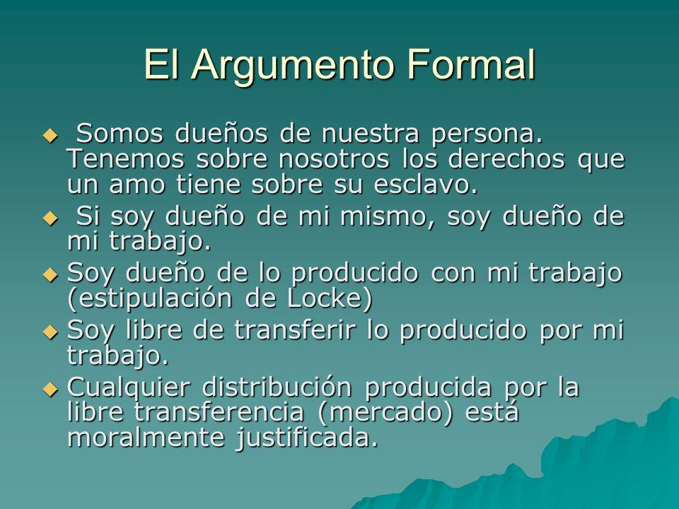 El Argumento Formal Somos dueños de nuestra persona. Tenemos sobre nosotros los derechos que un amo tiene sobre su esclavo. Somos dueños de nuestra pe