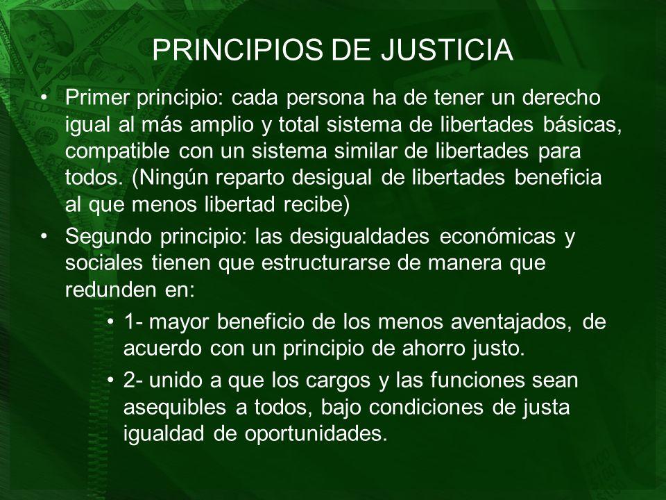 PRINCIPIOS DE JUSTICIA Primer principio: cada persona ha de tener un derecho igual al más amplio y total sistema de libertades básicas, compatible con