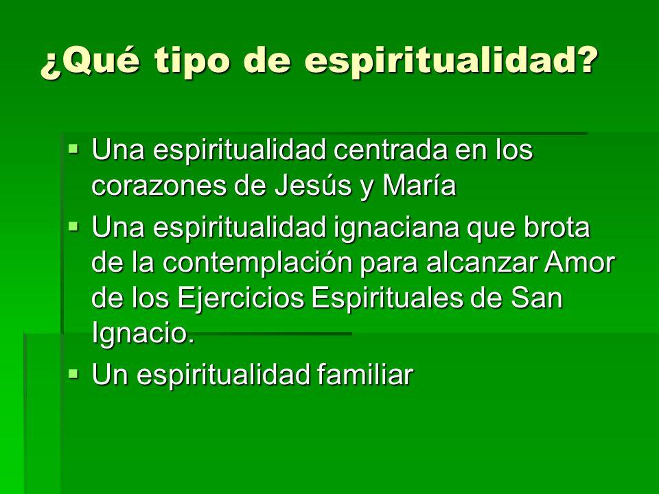 ¿Qué tipo de espiritualidad? Una espiritualidad centrada en los corazones de Jesús y María Una espiritualidad centrada en los corazones de Jesús y Mar