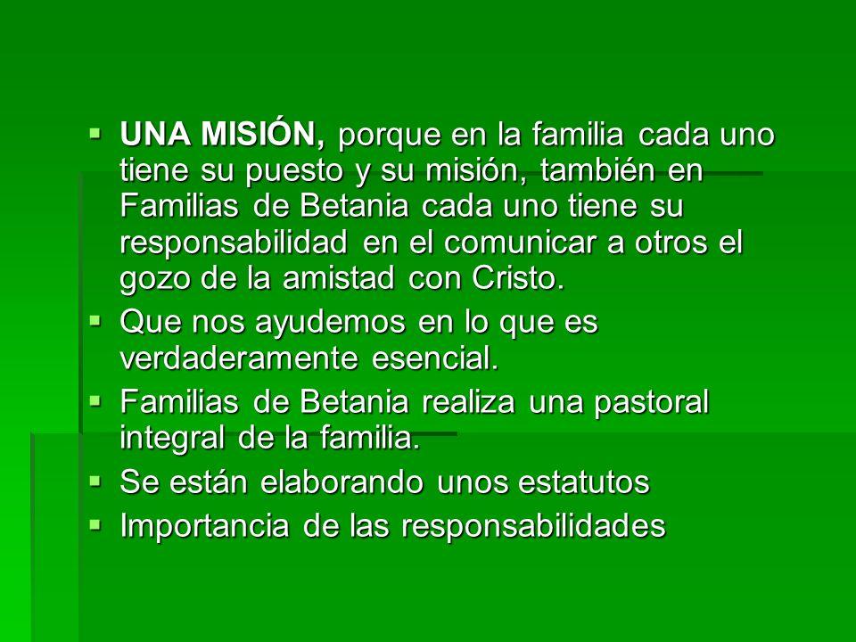 UNA MISIÓN, porque en la familia cada uno tiene su puesto y su misión, también en Familias de Betania cada uno tiene su responsabilidad en el comunica