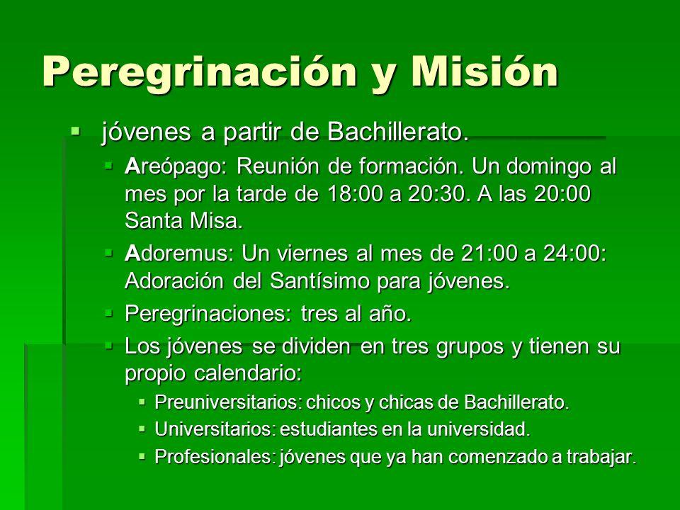 Peregrinación y Misión jóvenes a partir de Bachillerato. jóvenes a partir de Bachillerato. Areópago: Reunión de formación. Un domingo al mes por la ta