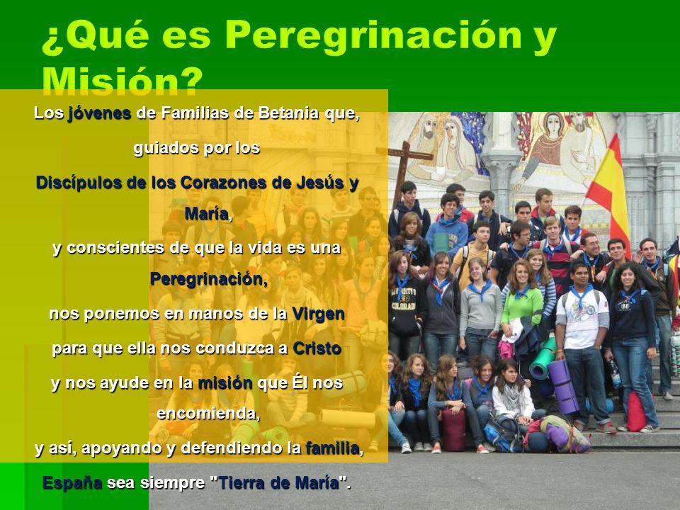 Los jóvenes de Familias de Betania que, guiados por los Discípulos de los Corazones de Jesús y María, y conscientes de que la vida es una Peregrinació