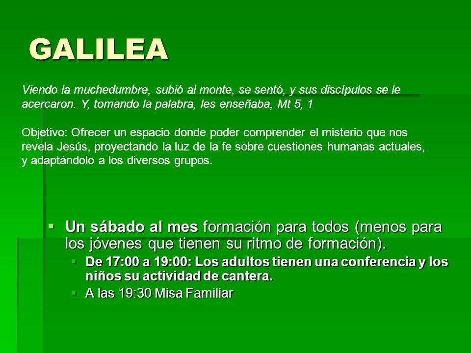 GALILEA Un sábado al mes formación para todos (menos para los jóvenes que tienen su ritmo de formación). Un sábado al mes formación para todos (menos