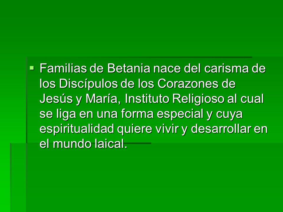 Familias de Betania nace del carisma de los Discípulos de los Corazones de Jesús y María, Instituto Religioso al cual se liga en una forma especial y
