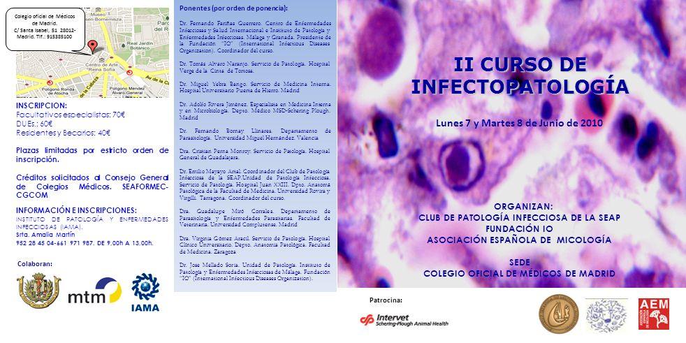 Ponentes (por orden de ponencia): Dr. Fernando Fariñas Guerrero. Centro de Enfermedades Infecciosas y Salud Internacional e Instituto de Patología y E