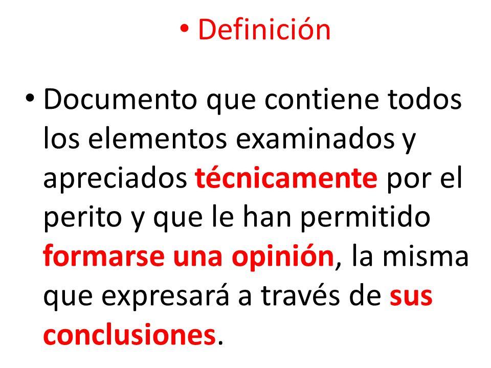 Documento que contiene todos los elementos examinados y apreciados técnicamente por el perito y que le han permitido formarse una opinión, la misma qu