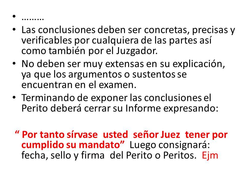……… Las conclusiones deben ser concretas, precisas y verificables por cualquiera de las partes así como también por el Juzgador. No deben ser muy exte
