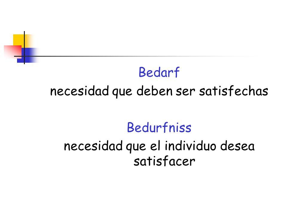 Bedarf necesidad que deben ser satisfechas Bedurfniss necesidad que el individuo desea satisfacer