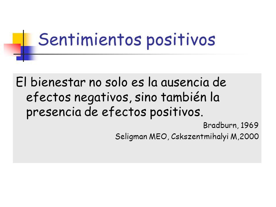 Sentimientos positivos El bienestar no solo es la ausencia de efectos negativos, sino también la presencia de efectos positivos. Bradburn, 1969 Seligm