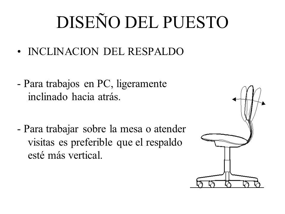 ASIENTO Altura del asiento: - Debe permitir que el angulo formado del antebrazo con el brazo no sea superior a 90°.