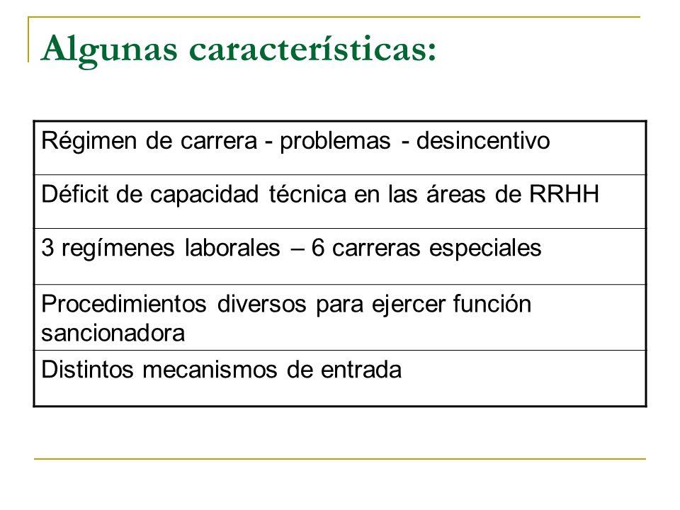Algunas características: Régimen de carrera - problemas - desincentivo Déficit de capacidad técnica en las áreas de RRHH 3 regímenes laborales – 6 carreras especiales Procedimientos diversos para ejercer función sancionadora Distintos mecanismos de entrada
