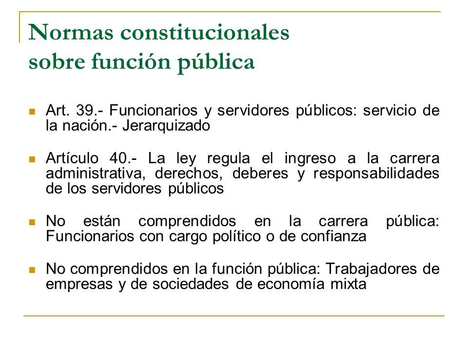 Normas constitucionales sobre función pública Art. 39.- Funcionarios y servidores públicos: servicio de la nación.- Jerarquizado Artículo 40.- La ley
