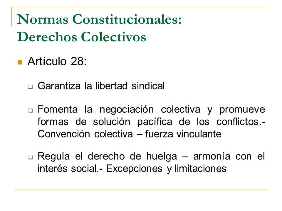 Normas Constitucionales: Derechos Colectivos Artículo 28: Garantiza la libertad sindical Fomenta la negociación colectiva y promueve formas de solució