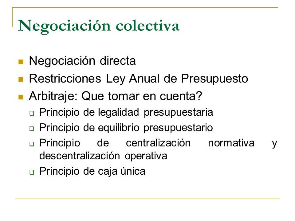 Negociación colectiva Negociación directa Restricciones Ley Anual de Presupuesto Arbitraje: Que tomar en cuenta? Principio de legalidad presupuestaria