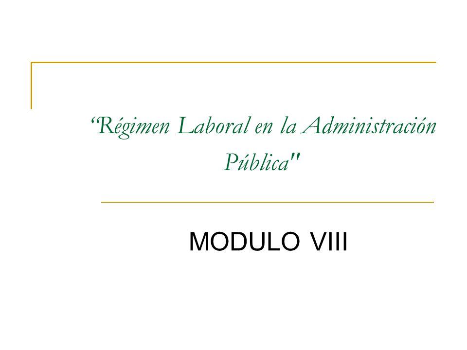 Régimen Laboral en la Administración Pública MODULO VIII
