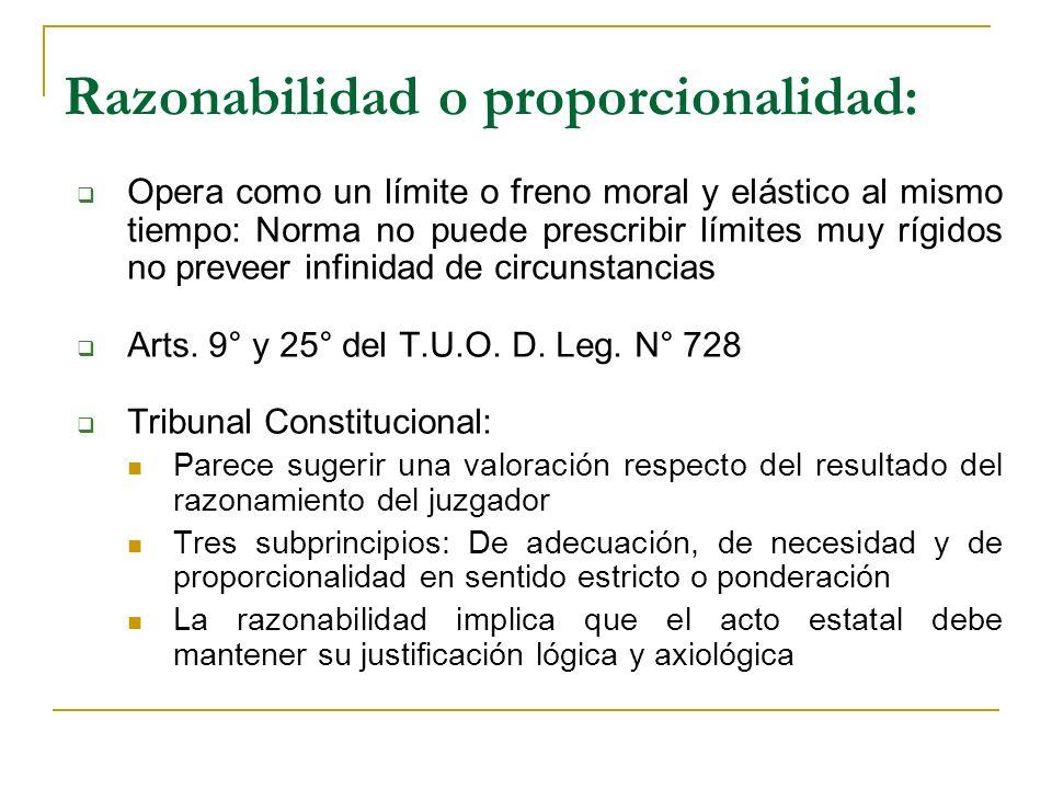 Razonabilidad o proporcionalidad: Opera como un límite o freno moral y elástico al mismo tiempo: Norma no puede prescribir límites muy rígidos no preveer infinidad de circunstancias Arts.
