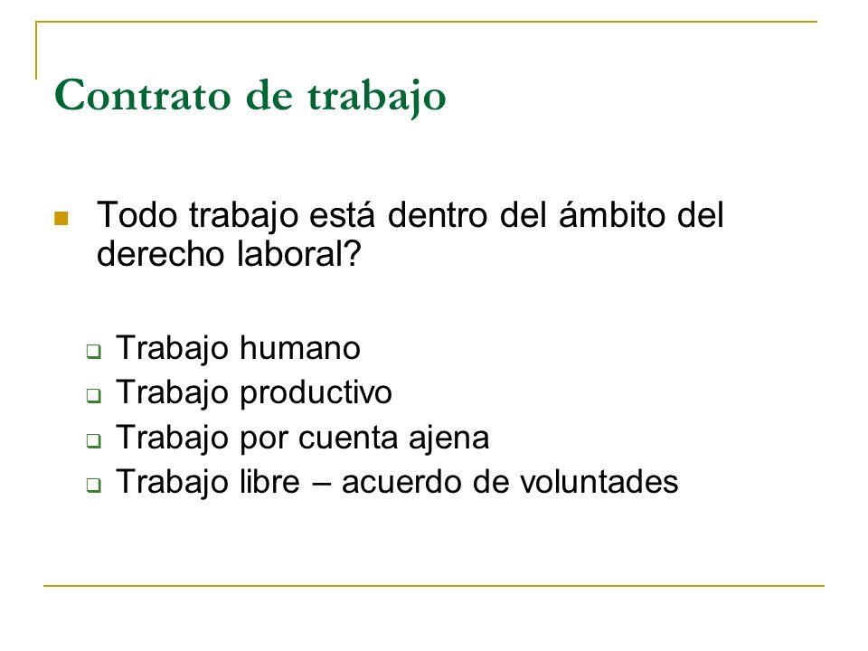Contrato de trabajo Todo trabajo está dentro del ámbito del derecho laboral? Trabajo humano Trabajo productivo Trabajo por cuenta ajena Trabajo libre