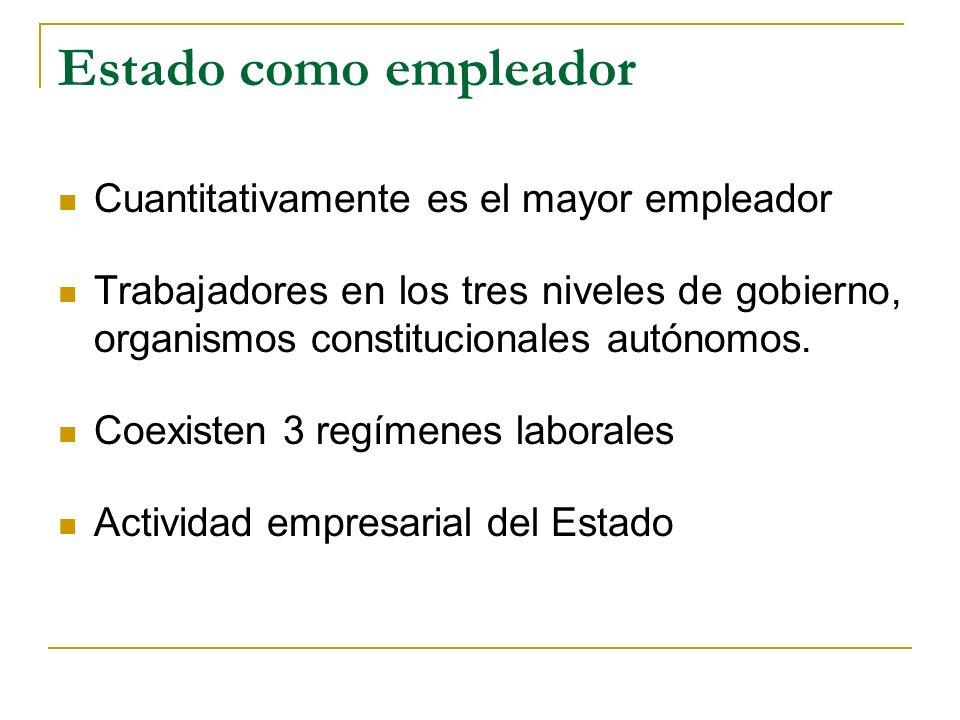 Estado como empleador Cuantitativamente es el mayor empleador Trabajadores en los tres niveles de gobierno, organismos constitucionales autónomos.