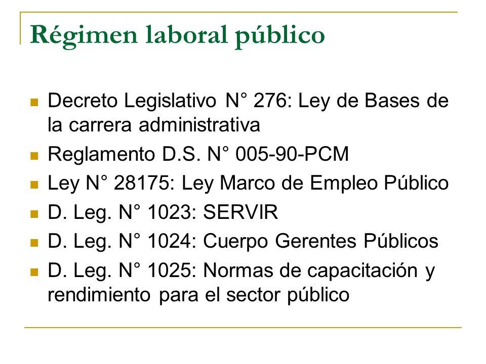 Régimen laboral público Decreto Legislativo N° 276: Ley de Bases de la carrera administrativa Reglamento D.S. N° 005-90-PCM Ley N° 28175: Ley Marco de