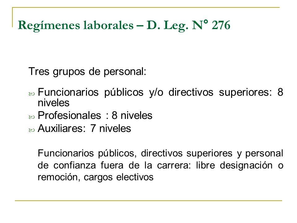 Regímenes laborales – D. Leg. N° 276 Tres grupos de personal: Funcionarios públicos y/o directivos superiores: 8 niveles Profesionales : 8 niveles Aux