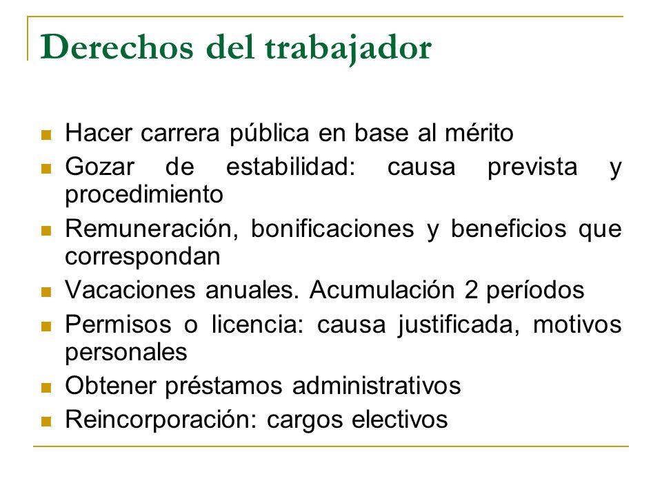 Derechos del trabajador Hacer carrera pública en base al mérito Gozar de estabilidad: causa prevista y procedimiento Remuneración, bonificaciones y beneficios que correspondan Vacaciones anuales.