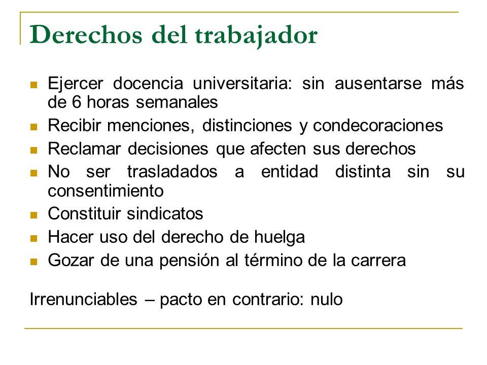 Derechos del trabajador Ejercer docencia universitaria: sin ausentarse más de 6 horas semanales Recibir menciones, distinciones y condecoraciones Recl
