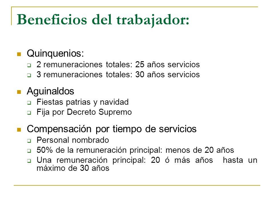 Beneficios del trabajador: Quinquenios: 2 remuneraciones totales: 25 años servicios 3 remuneraciones totales: 30 años servicios Aguinaldos Fiestas pat