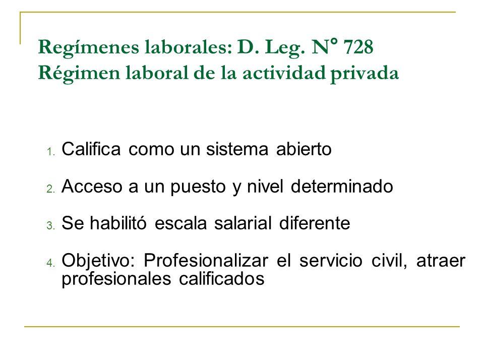 Regímenes laborales: D. Leg. N° 728 Régimen laboral de la actividad privada 1. Califica como un sistema abierto 2. Acceso a un puesto y nivel determin